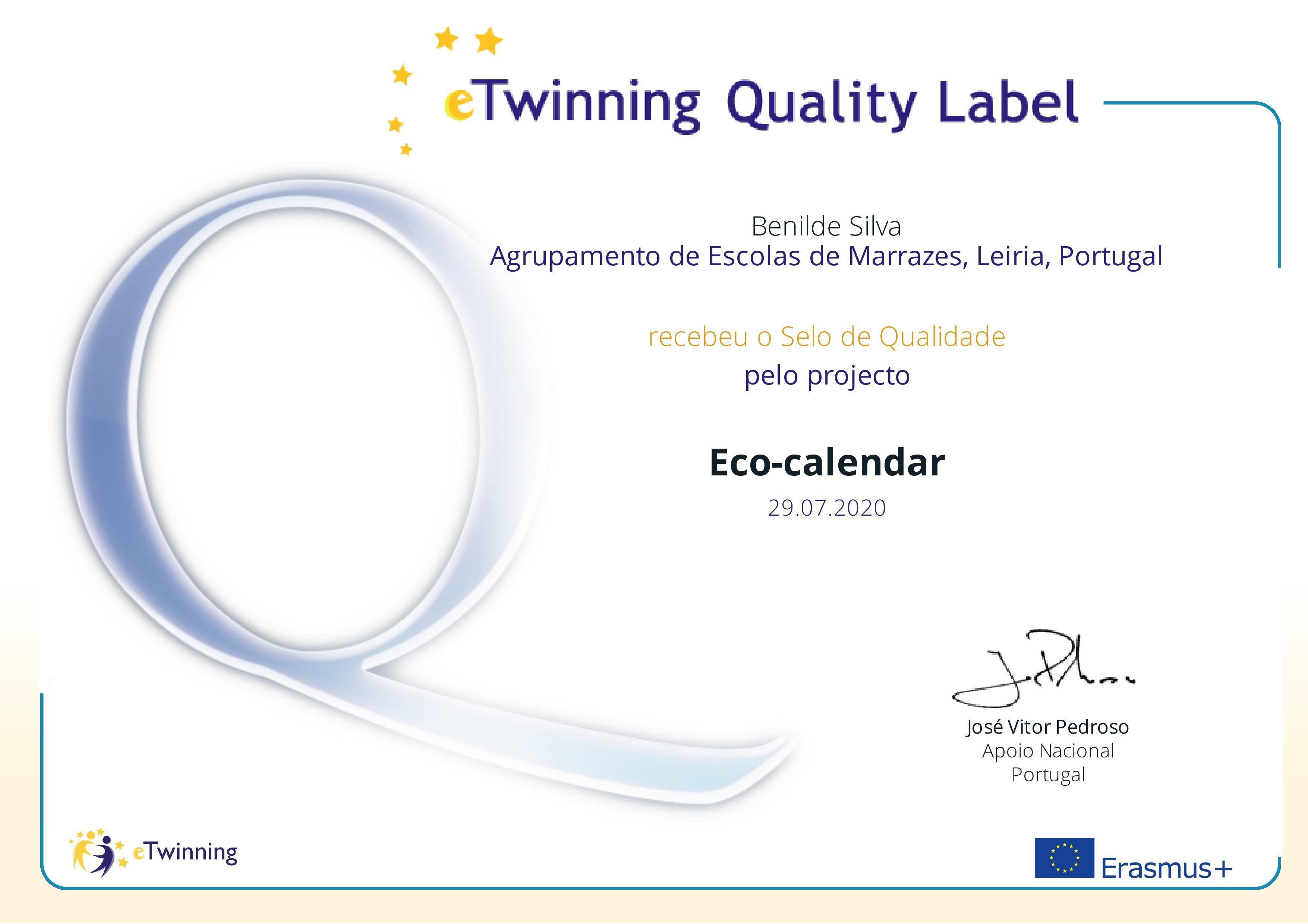 Selo nacional de qualidade Eco-calendar