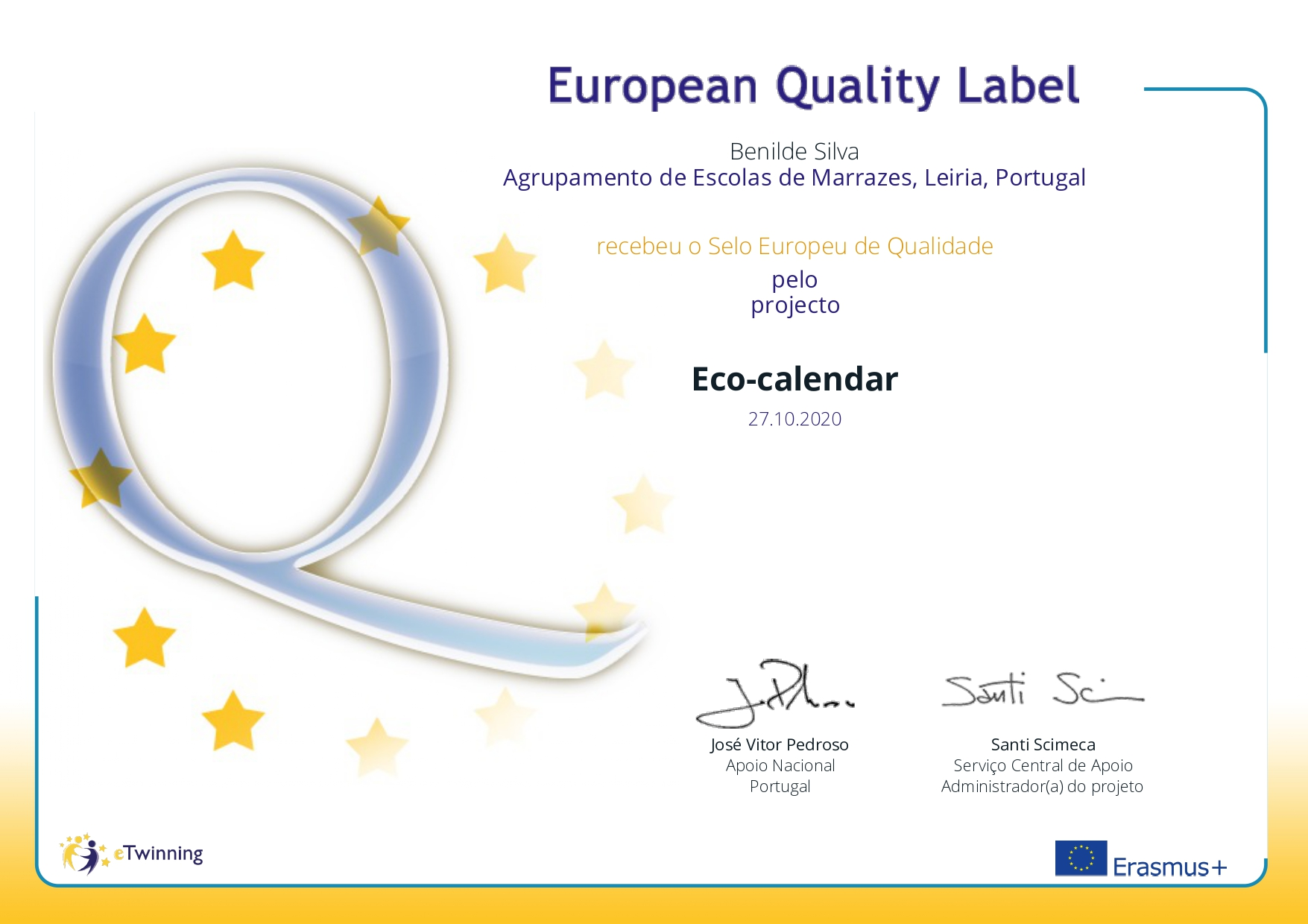 Selo europeu de qualidade Eco-calendar